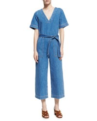 Mih Jeans Hart Deep V All In One Jumpsuit Blue