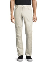 Calvin Klein Straight Fit Distressed Jeans Clean Canvas