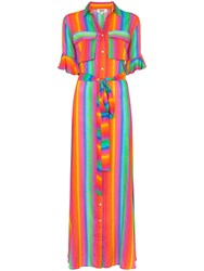 All Things Mochi Leilani Stripe Print Belted Dress Rainbow