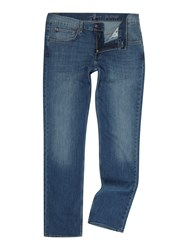 7 For All Mankind The Straight Ny Medium Wash Stretch Jeans Denim