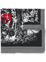 Alexander Mcqueen Etched Skeleton Scarf Black
