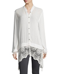 Xcvi Daisy Blouse With Lace Trim Women's
