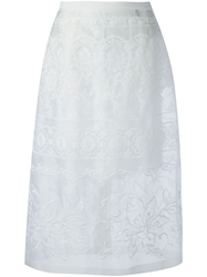N.21 Embroidered Layered Skirt White