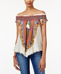 American Rag Printed Off The Shoulder Top Only At Macy's Egret Comb