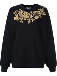 P.A.R.O.S.H. Gold Tone Embroidery Sweatshirt Black