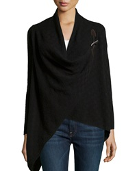 Neiman Marcus Cashmere Check Knit Toggle Cardigan Black