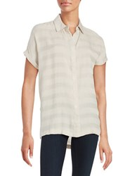 Lord And Taylor Striped Button Front Shirt Grey Morn