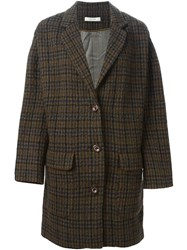 Sessun Checked Coat Brown