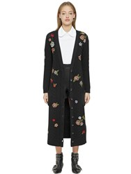 Red Valentino Long Floral Wool Blend Knit Cardigan