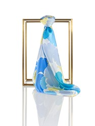 Shanghai Tang Gingko Silk Satin Chiffon Square Scarf Light Blue