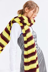 Urban Outfitters Oversized Striped Ribbed Scarf Yellow