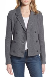 James Perse Women's Double Breasted Blazer Heather Charcoal
