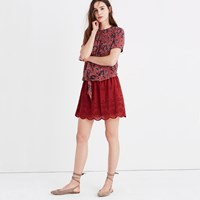 Madewell Eyelet Mini Skirt Dark Brick