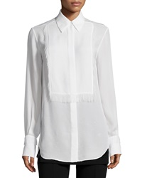 3.1 Phillip Lim Silk Tuxedo Shirt With Eyelash Fringe White