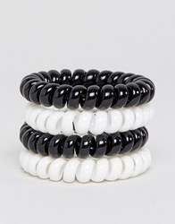 Asos Spring Bracelet Pack In Black And White Multi