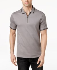 Kenneth Cole New York Men's Tipped 1 4 Zip Polo Dim Grey