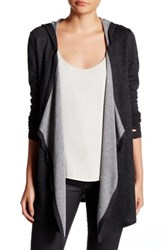 Cable And Gauge Drape Hooded Cardigan White