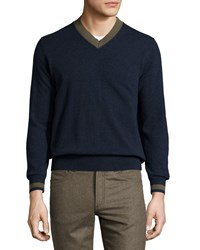 Luciano Barbera Cashmere Contrast Trim V Neck Sweater Navy Moss