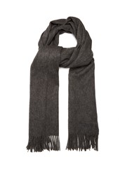 Mulberry Fringed Wool Scarf Grey
