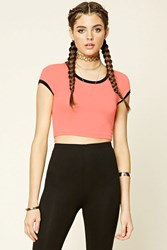 Forever 21 Marled Knit Ringer Crop Top