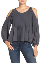 Astr Women's Pleated Cold Shoulder Top Dark Grey