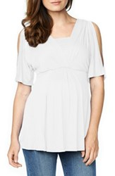 Maternal America Women's Split Sleeve Maternity Nursing Top White