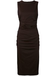 Eggs Ruched Fitted Dress Women Cotton Nylon Spandex Elastane 42 Brown