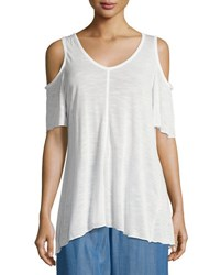Philosophy V Neck Cold Shoulder Jersey Top White