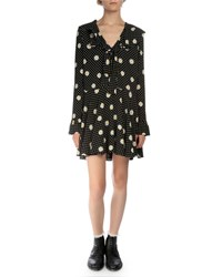 Saint Laurent Long Sleeve Daisy Print Mini Dress Black White Yellow Women's