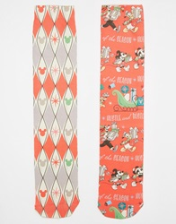 Asos 2 Pack Socks With Christmas Disney Print Red