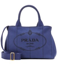 Prada Printed Cotton Tote Blue