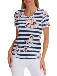 Betty Barclay Stripe Floral Print T Shirt Blue White