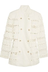 Zimmermann Double Breasted Crochet Paneled Linen Jacket White