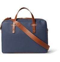 Miansai Leather Trimmed Coated Canvas Briefcase Blue