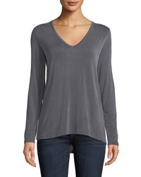Majestic V Neck Long Sleeve Swing Tee Charcoal