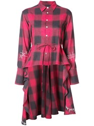 Haculla Plaid Asymmetric Shirt Red