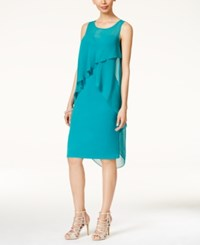 Thalia Sodi Ruffled Overlay Dress Only At Macy's Aruba Blue