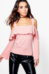 Boohoo Kate Ruffle Detail Open Shoulder Top Blush