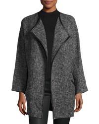 Neiman Marcus Open Front Tweed Coat Gray