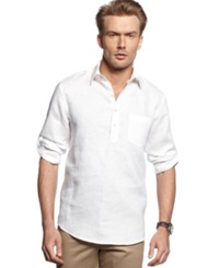 Tasso Elba Shirt Long Sleeve Linen Blend Popover Shirt White