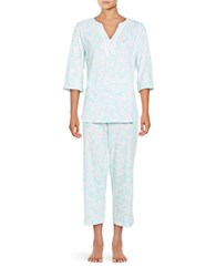 Miss Elaine Lace Accented Shirt And Matching Pants Sleep Set Turquoise White