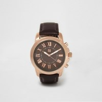 River Island Dark Brown And Rose Gold Round Face Watch