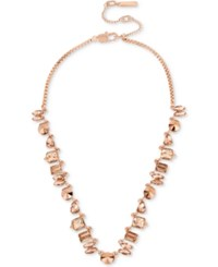 Kenneth Cole New York Rose Gold Tone Crystal And Metallic Collar Necklace