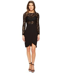 Aidan Mattox Long Sleeve Lace Crepe Cocktail Dress With Illusion Detail Black Women's Dress