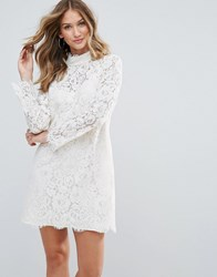 Deby Debo Dorothy Lace High Neck Dress White
