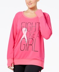 Ideology Plus Size Pink Ribbon Graphic Top Only At Macy's Molten Pink