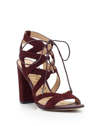 Sam Edelman Yardley Lace Up Suede Block Heel Sandals Wine