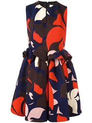 Delpozo Floral Ruched Waist Dress Multicolour