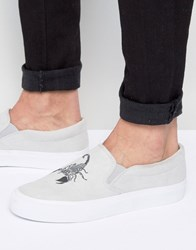 Asos Slip On Plimsolls In Grey With Scorpion Embroidery Grey Stone