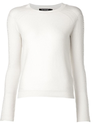 Tess Giberson Laced Sleeve Sweater White